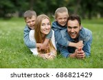 close up   young parents and... | Shutterstock . vector #686821429