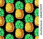 pineapple seamless pattern.... | Shutterstock .eps vector #686825059