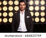 elegant young handsome man.... | Shutterstock . vector #686825749