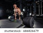 muscular men lifting deadlift... | Shutterstock . vector #686826679