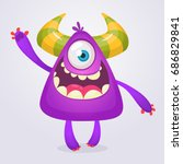 happy cartoon monster.... | Shutterstock .eps vector #686829841