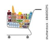 shopping cart in a supermarket...   Shutterstock .eps vector #686830291