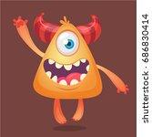 cartoon monster. orange horned... | Shutterstock .eps vector #686830414