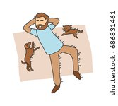 man and his pets illustration.  ...   Shutterstock .eps vector #686831461