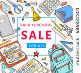 back to school sale flyer... | Shutterstock .eps vector #686832301