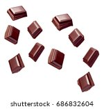 Stock photo collection of various chocolate pieces on white background 686832604