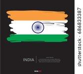 flag of india with brush stroke ...   Shutterstock .eps vector #686833387