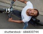 top view   cute positive...   Shutterstock . vector #686833744