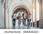 multiracial students are... | Shutterstock . vector #686836261