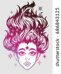 gothic girl head portrait with...   Shutterstock .eps vector #686843125