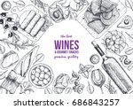 wines and gourmet snacks frame... | Shutterstock .eps vector #686843257