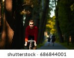 candid shot of young hipster... | Shutterstock . vector #686844001
