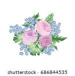 flower bouquet spring garden... | Shutterstock .eps vector #686844535