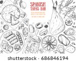 spanish cuisine top view frame. ... | Shutterstock .eps vector #686846194