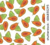 papaya seamless pattern. raster ... | Shutterstock . vector #686850295