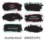 set of black paint  ink brush... | Shutterstock .eps vector #686851441
