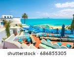 beautiful view over of seaside ...   Shutterstock . vector #686855305