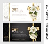 set of luxury gift voucher with ... | Shutterstock .eps vector #686859745