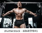 brutal strong bodybuilder... | Shutterstock . vector #686859841