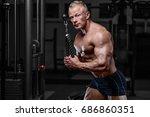 brutal strong athletic men... | Shutterstock . vector #686860351