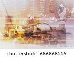 double exposure of wooden block ... | Shutterstock . vector #686868559