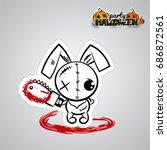 halloween evil bunny rabbit...   Shutterstock .eps vector #686872561