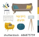 vector interior design elements.... | Shutterstock .eps vector #686875759