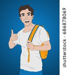 education concept  smiling... | Shutterstock .eps vector #686878069