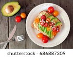 avocado toast with hummus and...   Shutterstock . vector #686887309