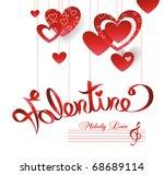 valentine card melody my heart | Shutterstock .eps vector #68689114