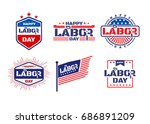 happy labor day.american labor... | Shutterstock .eps vector #686891209