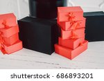 gift boxes on white background  ... | Shutterstock . vector #686893201