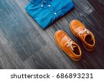 men's casual outfit with denim... | Shutterstock . vector #686893231