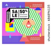 summer sale memphis style web... | Shutterstock .eps vector #686896135