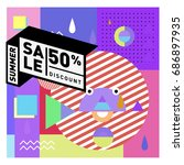 summer sale memphis style web... | Shutterstock .eps vector #686897935