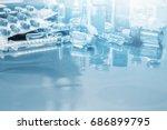 glass medicine vials ampule ...   Shutterstock . vector #686899795