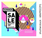 summer sale memphis style web... | Shutterstock .eps vector #686902291