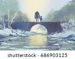 robot and little girl standing... | Shutterstock . vector #686903125