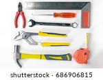 top view of working tools. | Shutterstock . vector #686906815