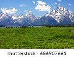 view of teton mountain range...   Shutterstock . vector #686907661