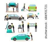set of car service station ... | Shutterstock . vector #686931721