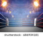 boxing ring with illumination... | Shutterstock . vector #686934181