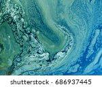 marbled blue and golden... | Shutterstock . vector #686937445