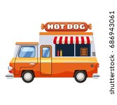 hot dog van mobile snack icon.... | Shutterstock .eps vector #686943061