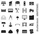 excavations icons set. simple... | Shutterstock .eps vector #686950681