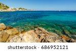 mediterranean sea with rocks... | Shutterstock . vector #686952121