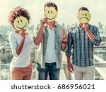 young people holding emojis... | Shutterstock . vector #686956021