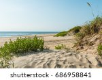 coquina beach on the outer... | Shutterstock . vector #686958841