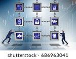 businessman in blockchain... | Shutterstock . vector #686963041