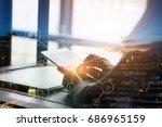 double exposure...   Shutterstock . vector #686965159